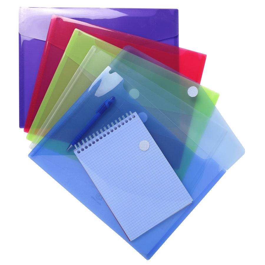 Enveloptassen met velcrosluiting, A4, 5 stuks, verschillende kleuren-1