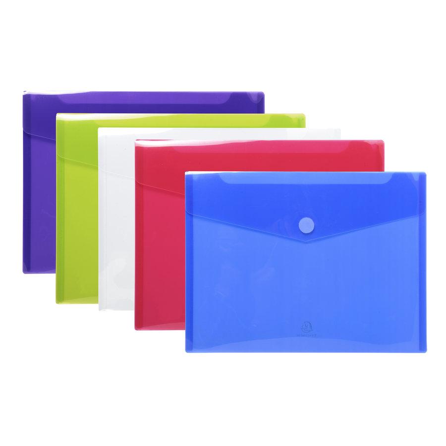 Enveloptassen met velcrosluiting, A4, 5 stuks, verschillende kleuren-2