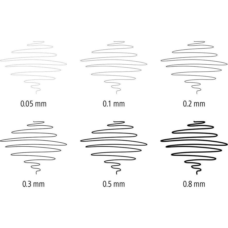 Fine pigment liner, zwart,  opstelbare box van 6 (4+2 gratis)-4