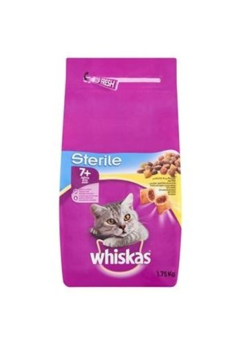 Whiskas kattenbrokjes met kip +7j  1.75kg - sterile -