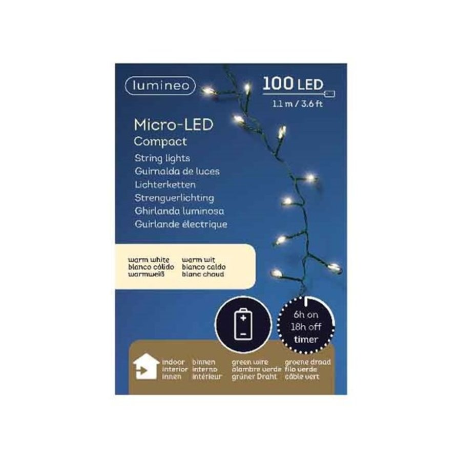 Micro LED compact  bo green wire 100 lights-2