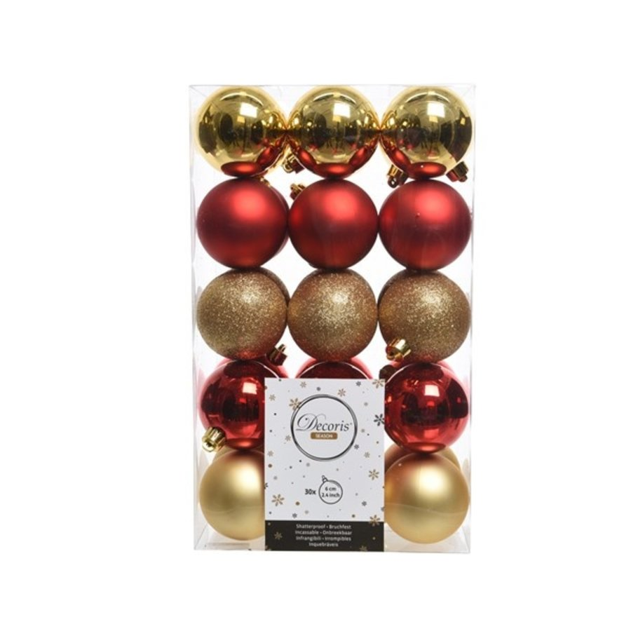 Set/30 onbreekbare kerstballen dia 6cm-1