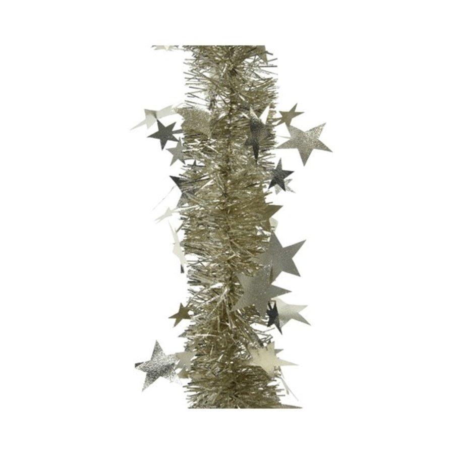 Guirlande lametta relief ster 12.5x270cm champagne-1