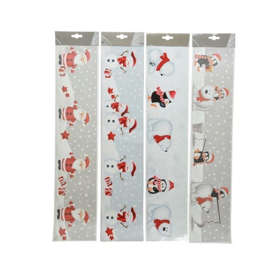 Raamdecoratie 12.5x58.5cm rood/wit-1