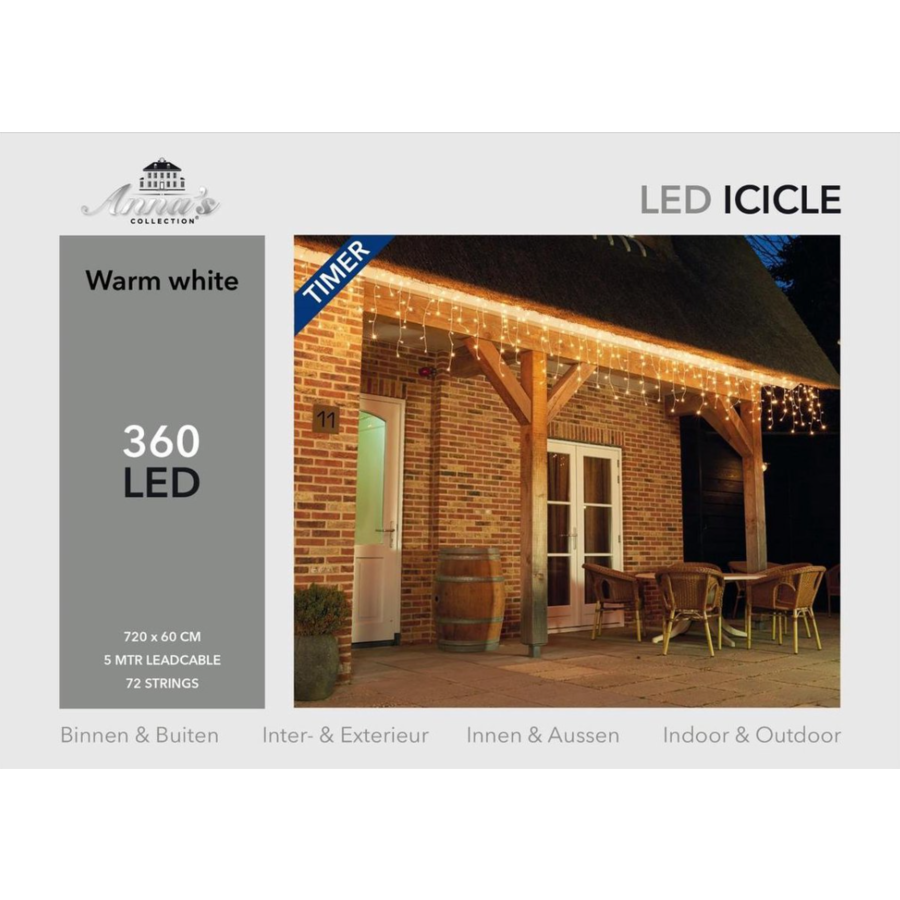 ICICLE Lights - Warm Wit - met Timer 8/16U-4