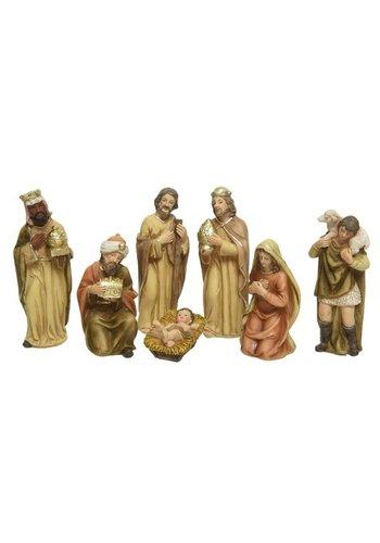 Decoris Kerstbeelden poly 7 stuks  naturel/goudkleurig