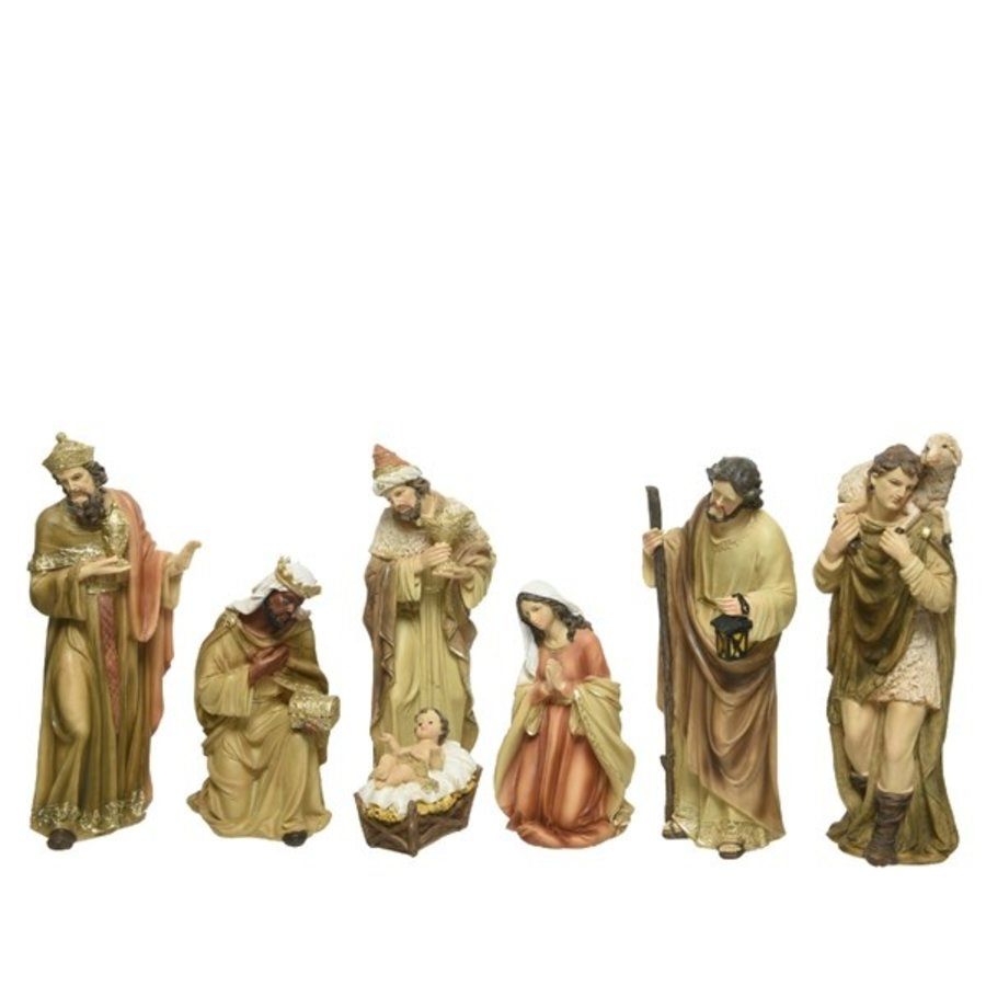kerstgroep poly 7 figuren Maria 4x4x8cm Joseph 2.8x4.2x11cm Jesus 3.5x5x3cm shepherd 2.5x4x10.5cm king 1: 3x4x11.5cm king 2: 3x4x11cm king 3: 4.5x4x8.5cm packed per set in styrofoam in colourbox-1