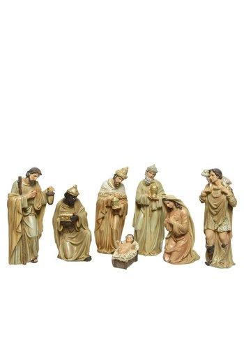 Decoris Kerstbeelden poly 7 stuks  +-20cm