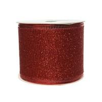 Lint polyester gaas glitter rood 270x6.3cm