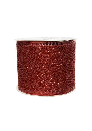 Decoris Lint polyester gaas glitter rood 270x6.3cm