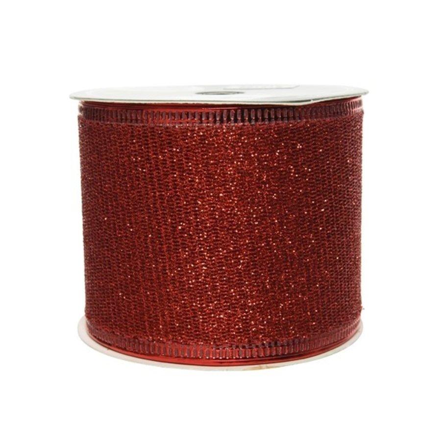 Lint polyester gaas glitter rood 270x6.3cm-1