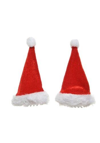 Decoris Haarspeld kerstmuts 9x5cm rood/wit /2