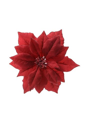 Decoris Poinsettia op clip, kerstrood