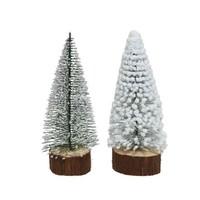 Mini boom met houten voetje 18cm frost