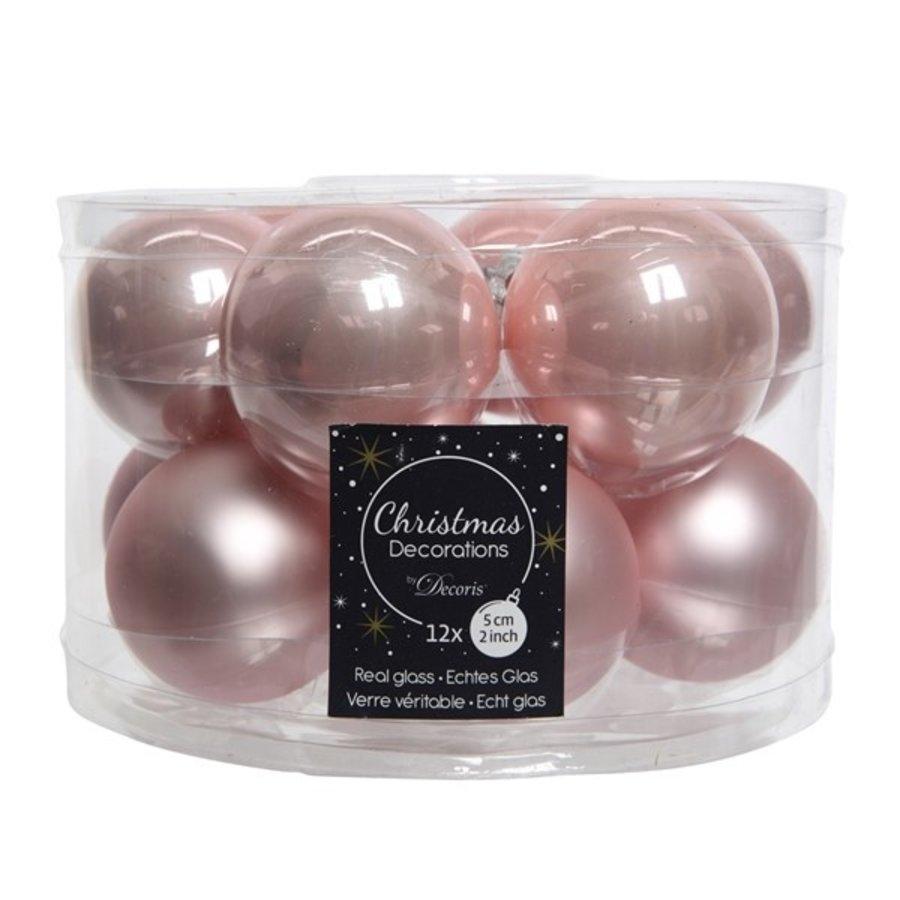 Kerstballen glas mat/glans d5cm poederroze  /12-1