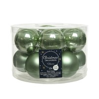 Kerstballen glas mat/glans d5cm saliegroen  /12