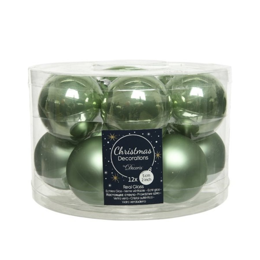 Kerstballen glas mat/glans d5cm saliegroen  /12-1