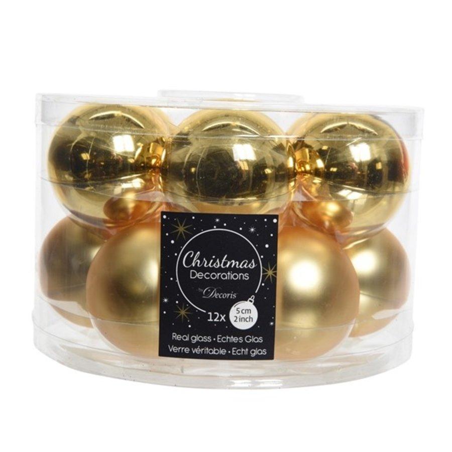 Kerstballen glas mat/glans d5cm lichtgoud /12-1