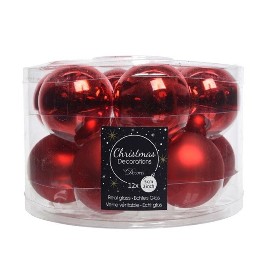 Kerstballen glas mat/glans d5cm kerstrood /12-1