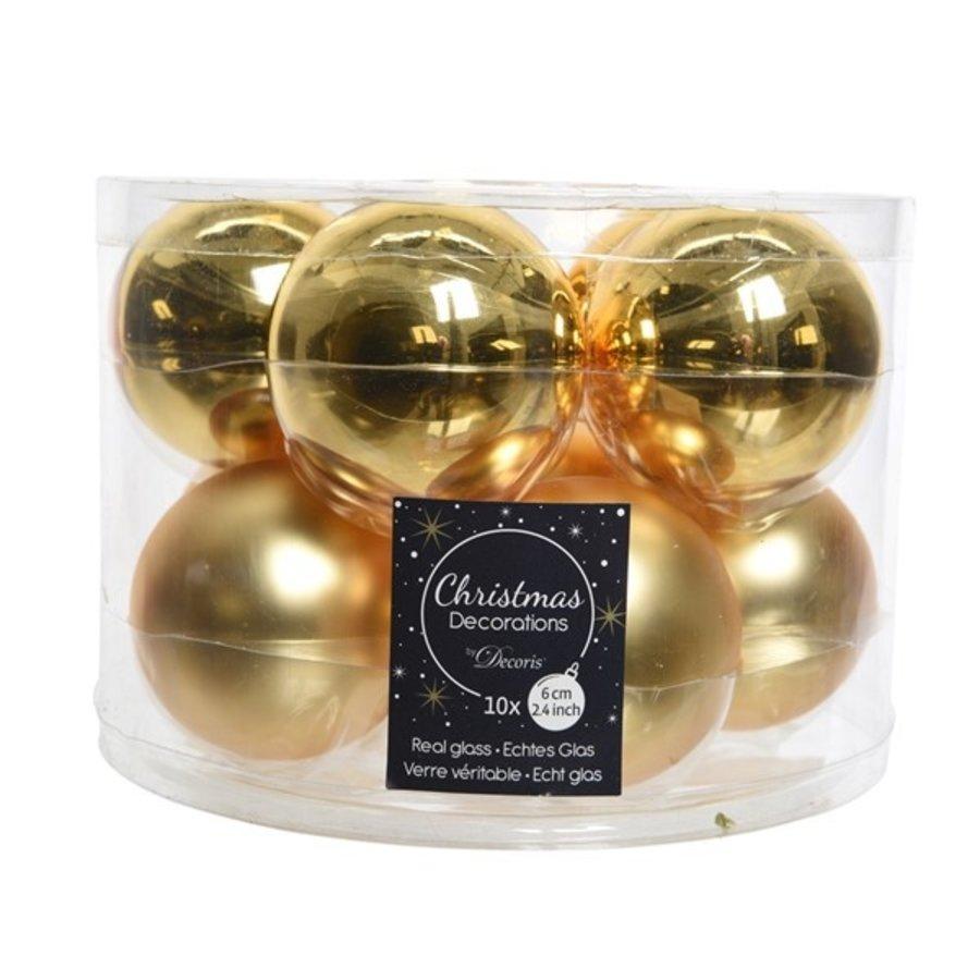 Kerstballen glas mat/glans d6cm lichtgoud /10-1