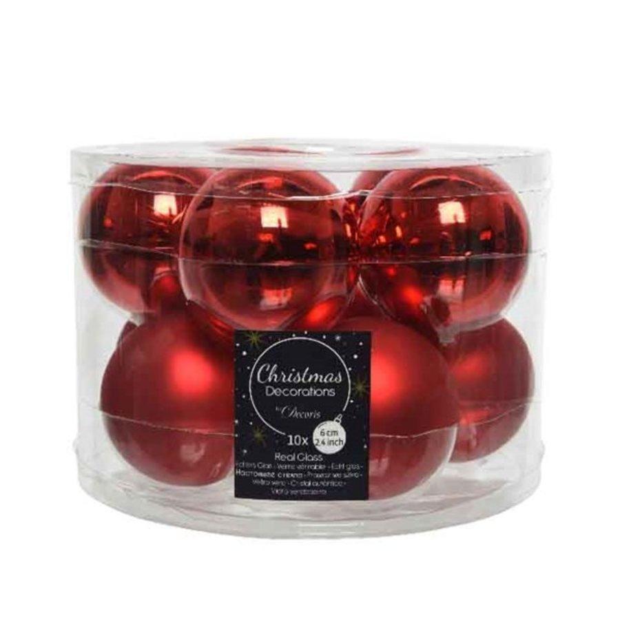 Kerstballen glas mat/glans d6cm kerstrood /10-1