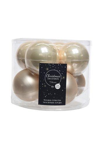 Decoris Kerstballen glas mat/glans d7cm parel /8