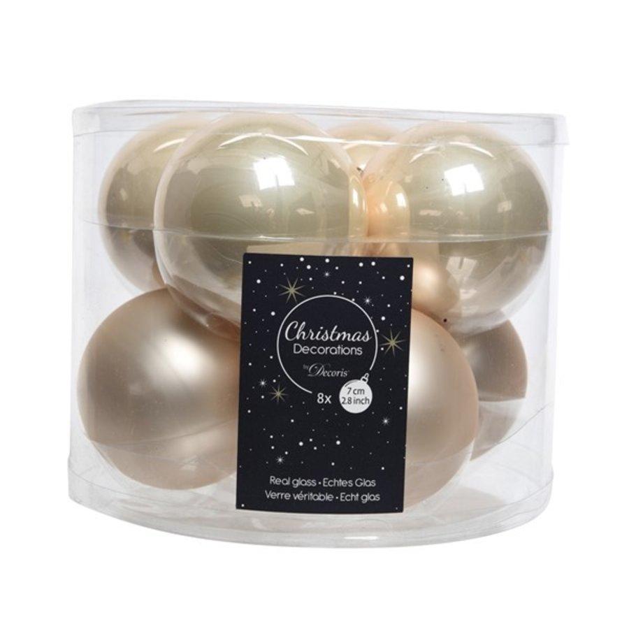 Kerstballen glas mat/glans d7cm parel /8-1