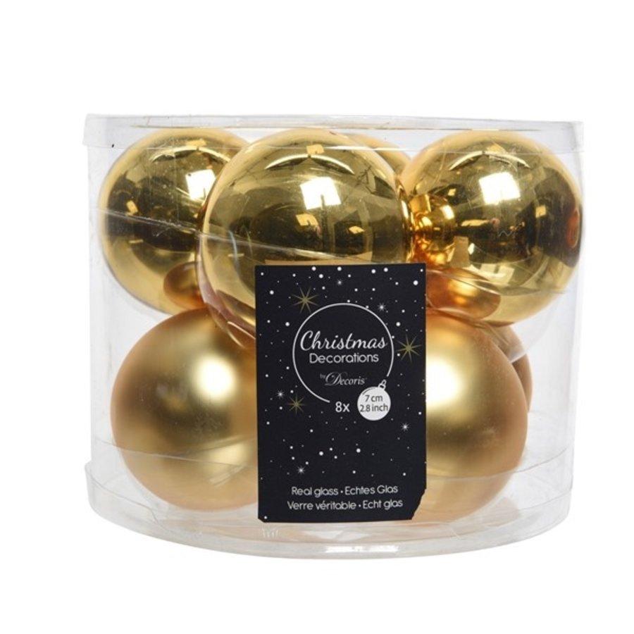 Kerstballen glas mat/glans d7cm lichtgoud /8-1