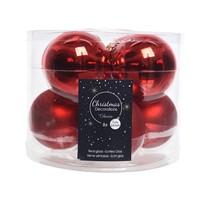 Kerstballen glas mat/glans d7cm kerstrood /8