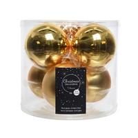 Kerstballen glas mat/glans d8cm lichtgoud /6