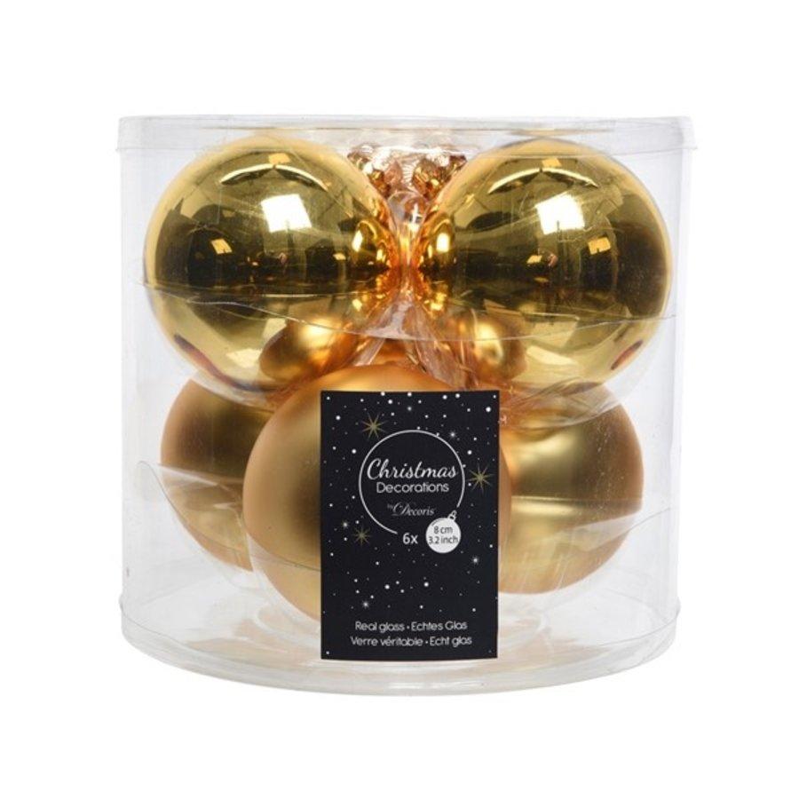 Kerstballen glas mat/glans d8cm lichtgoud /6-1