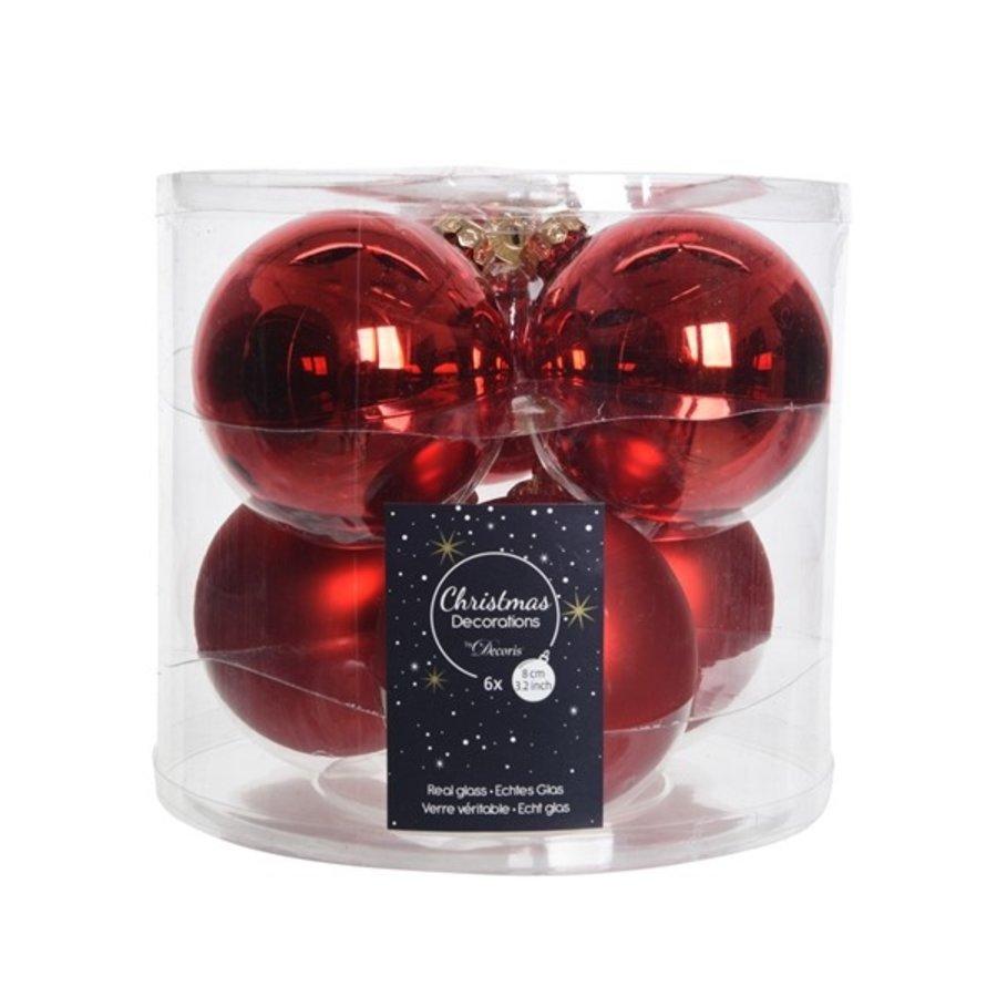 Kerstballen glas mat/glans d8cm kerstrood /6-1
