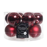 Kerstballen glas mat/glans d5cm ossenbloed /12