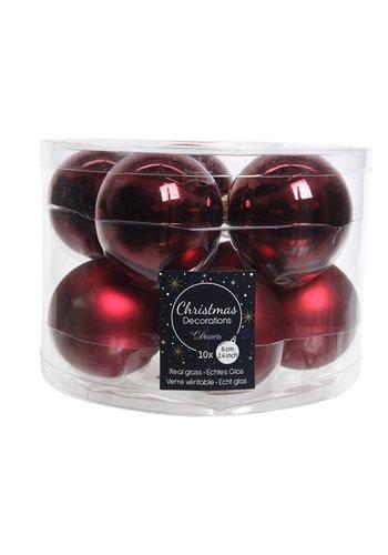 Decoris Kerstballen glas mat/glans d6cm ossenbloed /10