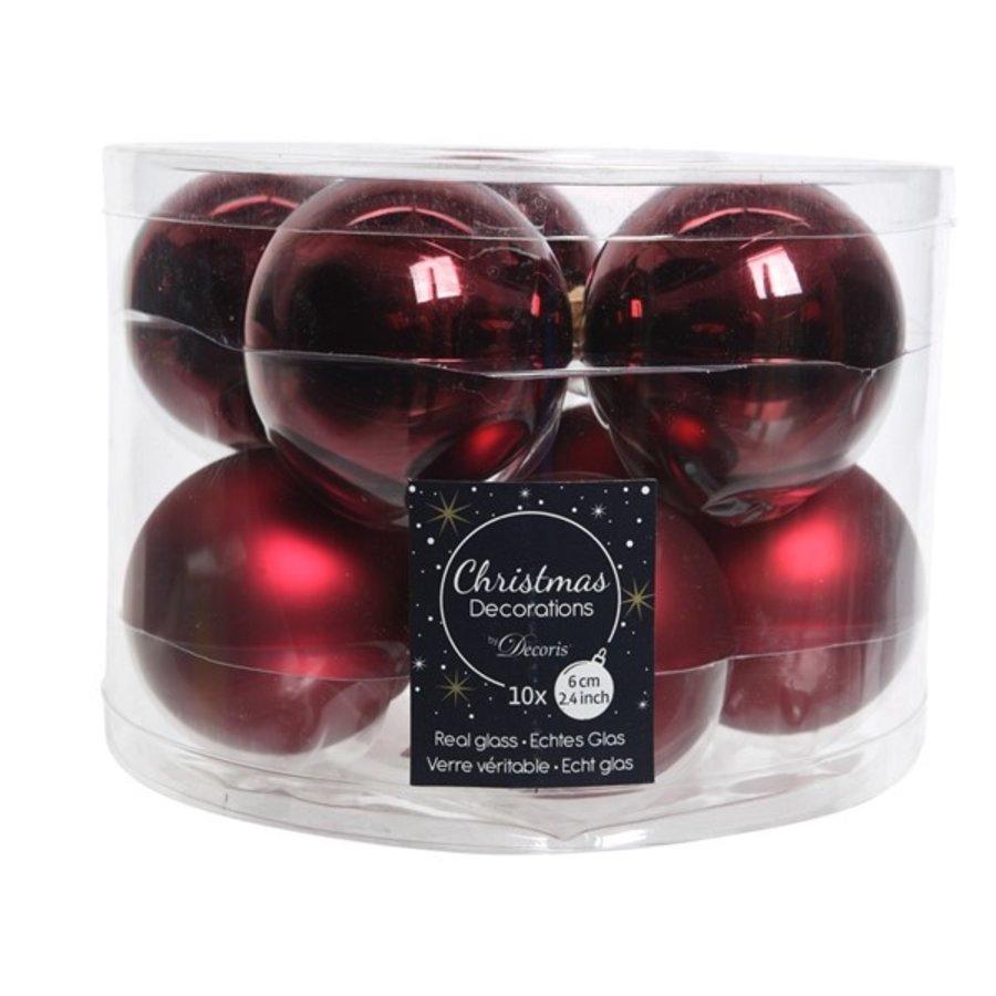 Kerstballen glas mat/glans d6cm ossenbloed /10-1