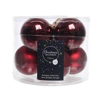 Kerstballen glas mat/glans d7cm ossenbloed /8
