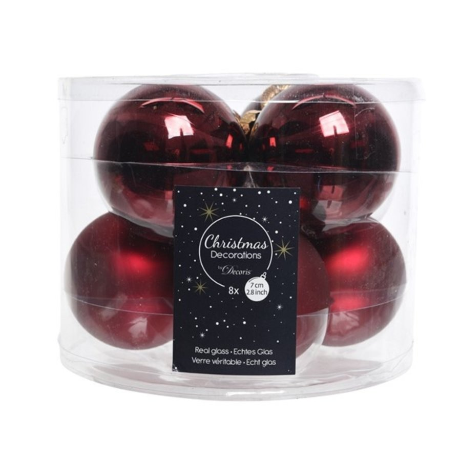 Kerstballen glas mat/glans d7cm ossenbloed /8-1
