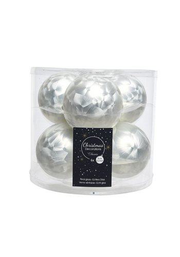 Decoris Kerstballen glas mat d8cm wit ijslak /6
