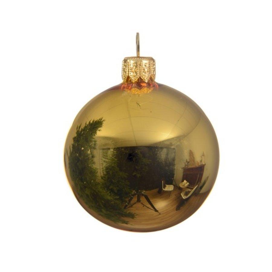 Kerstballen glas glans lichtgoud dia 7cm/6-1