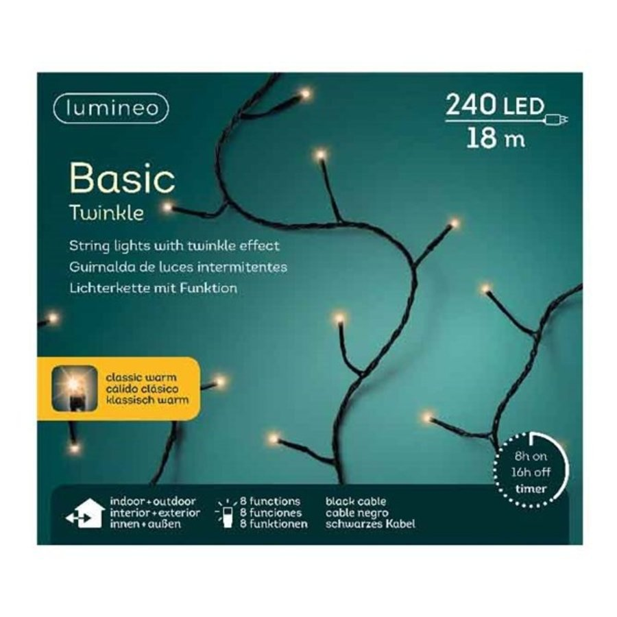 LED basic lights twinkle - black cable - Klassiek Warm-3