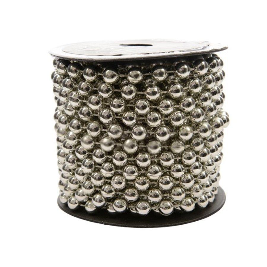 Kralenketting plastic 10m zilver-1