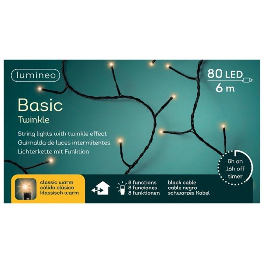 LED basic lights twinkle - black cable - Klassiek Warm-7