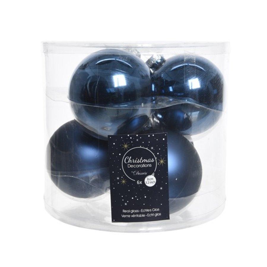 Kerstballen glas mat/glans d8cm nachtblauw /6-1