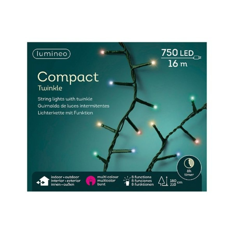 LED compact twinkle - green cable - Multicolour-1