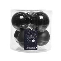 Kerstballen glas mat/glans d8cm zwart /6