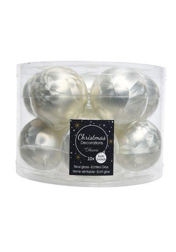 Decoris Kerstballen glas mat 6cm wit ijslak /10