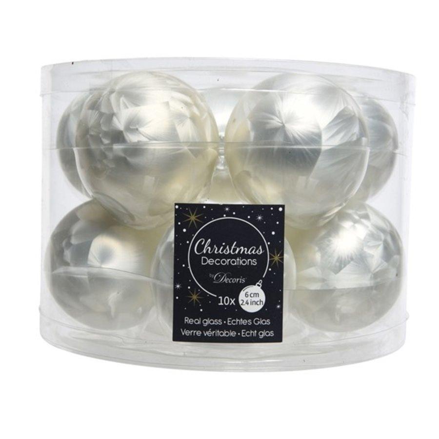 Kerstballen glas mat 6cm wit ijslak /6-1