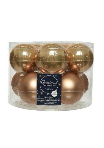 Decoris Kerstballen glas mat/glans d6cm camelbruin /10