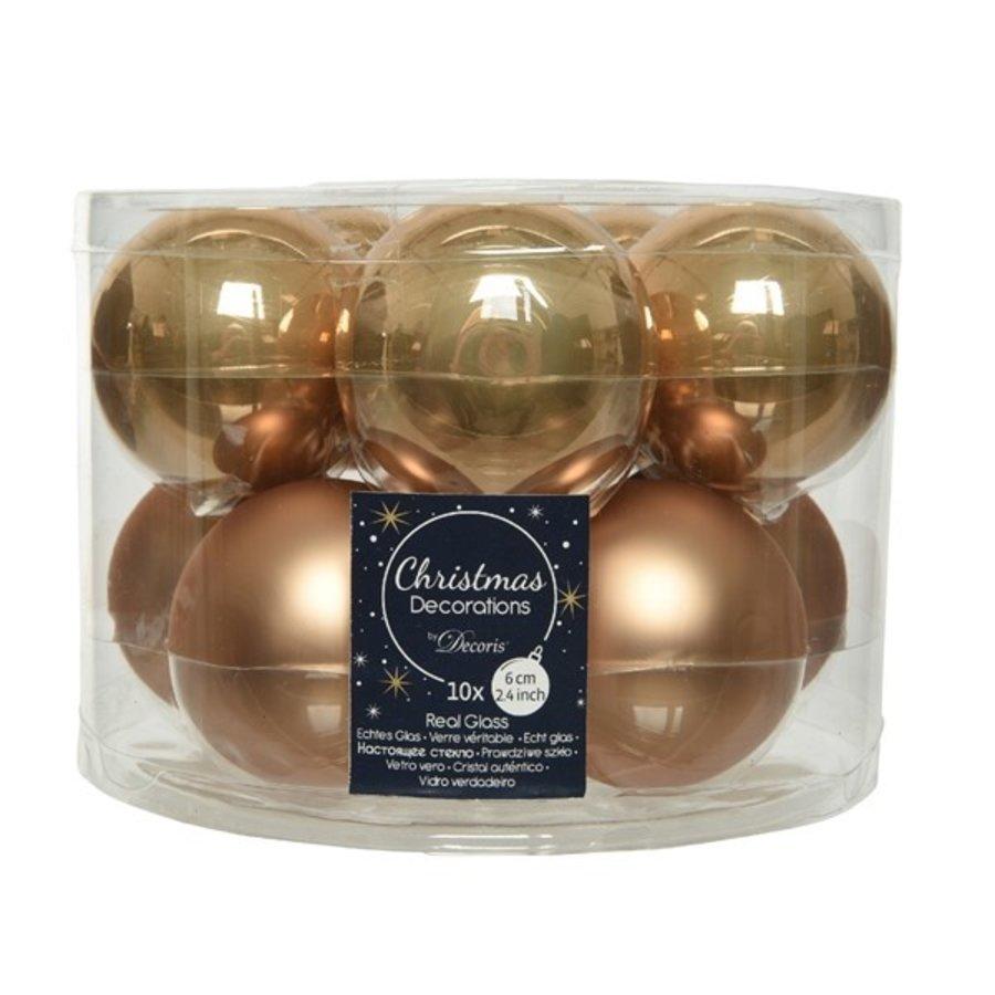 Kerstballen glas mat/glans d6cm camelbruin /10-1