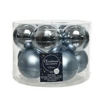 Kerstballen glas mat/glans d6cm winterlucht /10